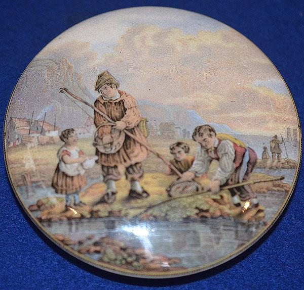 PRATT WARE POT LID, THE SHRIMPERS.